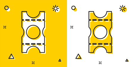Black Coupon icon isolated on yellow and white background. Empty shopping discount sticker. Template discount banner. Random dynamic shapes. Vector Illustration.
