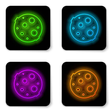 Glowing neon line Moon icon isolated on white background. Black square button. Vector Illustration.