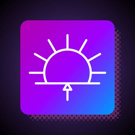 White line Sunrise icon isolated on black background. Square color button. Vector Illustration.