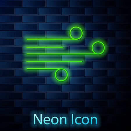 Glowing neon line Wind icon isolated on brick wall background. Windy weather. Vector Illustration.