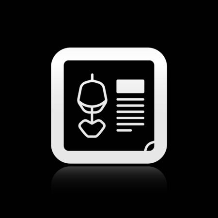 Black X-ray shots icon isolated on black background. Silver square button. Vector Illustration.