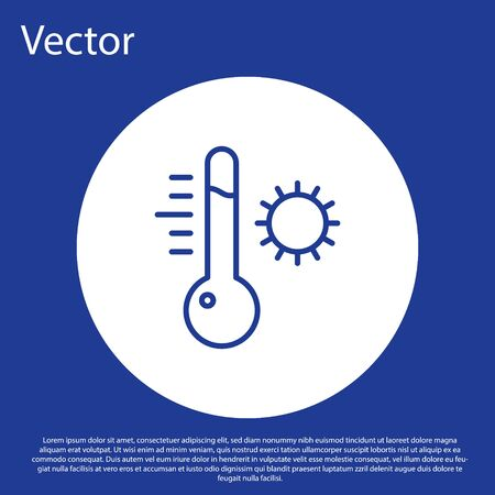 Blue line Meteorology thermometer measuring icon isolated on blue background. Thermometer equipment showing hot or cold weather. White circle button. Vector Illustration. Illusztráció