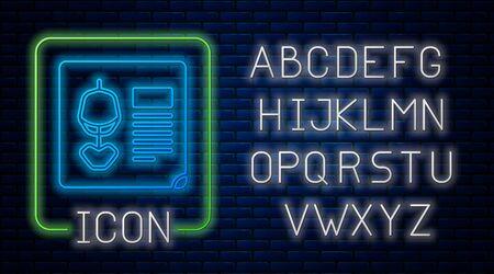 Glowing neon X-ray shots icon isolated on brick wall background. Neon light alphabet. Vector Illustration. Illusztráció