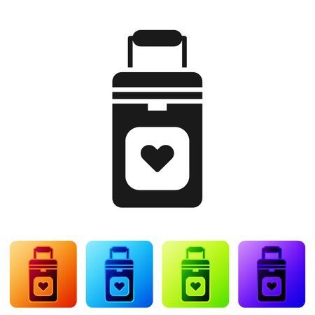 Black Cooler box for human organs transportation icon isolated on white background. Organ transplantation concept. Organ container. Set icons in color square buttons. Vector Illustration.