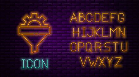 Glowing neon line Sales funnel with arrows for marketing and startup business icon isolated on brick wall background. Infographic template. Neon light alphabet. Vector Illustration