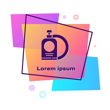 Purple Dishwashing liquid bottle and plate icon isolated on white background. Liquid detergent for washing dishes. Color rectangle button. Vector Illustration.
