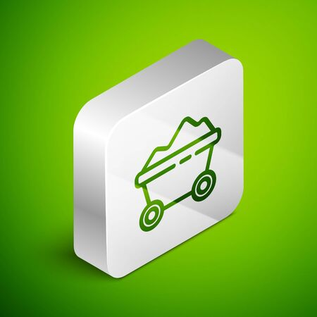 Isometric line Coal mine trolley icon isolated on green background. Factory coal mine trolley. Silver square button. Vector Illustration.