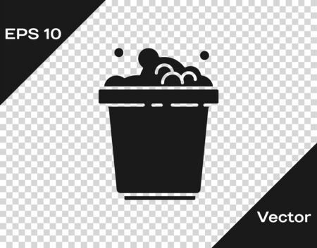 Black Bucket with soap suds icon isolated on transparent background. Bowl with water. Washing clothes, cleaning equipment. Vector Illustration.