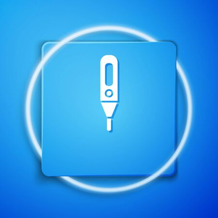 White Medical digital thermometer for medical examination icon isolated on blue background. Blue square button. Vector Illustration. Illusztráció