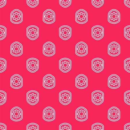 White line Shield with settings gear icon isolated seamless pattern on red background. Adjusting, service, maintenance, repair, fixing. Vector Illustration. Illusztráció