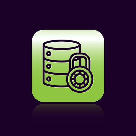 Black line Server security with closed padlock icon isolated on black background. Security, safety, protection concept. Green square button. Vector Illustration.