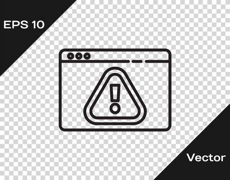 Black line Browser with exclamation mark icon isolated on transparent background. Alert message smartphone notification. Vector Illustration.