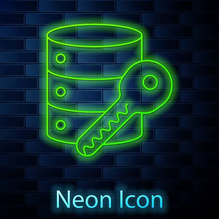 Glowing neon line Server security with key icon isolated on brick wall background. Security, safety, protection concept. Vector Illustration. Illusztráció