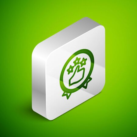 Isometric line Consumer or customer product rating icon isolated on green background. Silver square button. Vector Illustration.