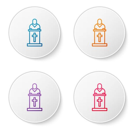 Color line Church pastor preaching icon isolated on white background. Set icons in circle buttons. Vector Illustration.