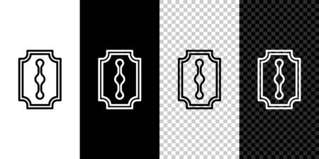 Set line Blade razor icon isolated on black and white background. Vector Illustration.