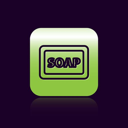 Black line Bar of soap with foam icon isolated on black background. Soap bar with bubbles. Green square button. Vector Illustration. 向量圖像