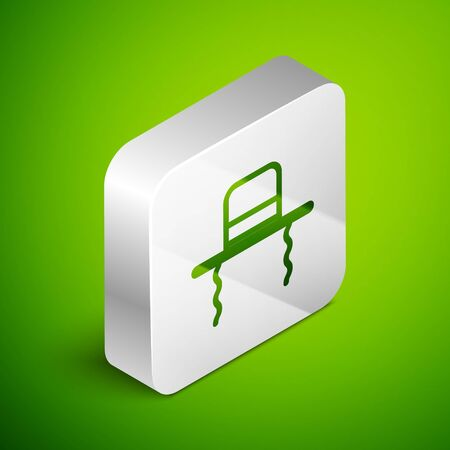 Isometric line Orthodox jewish hat with sidelocks icon isolated on green background. Jewish men in the traditional clothing. Judaism symbols. Silver square button. Vector Illustration.