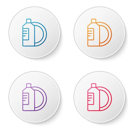 Color line Dishwashing liquid bottle and plate icon isolated on white background. Liquid detergent for washing dishes. Set icons in circle buttons. Vector Illustration. Illusztráció