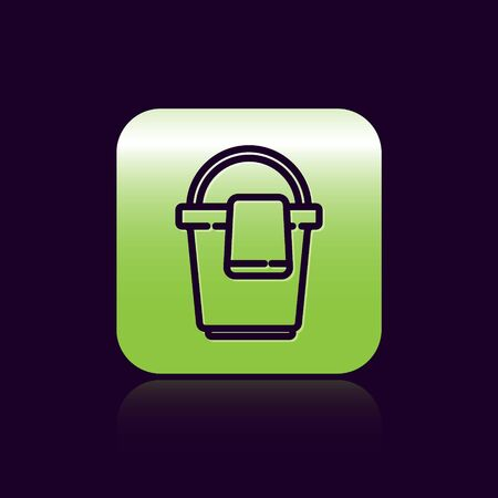Black line Bucket with rag icon isolated on black background. Cleaning service concept. Green square button. Vector Illustration.