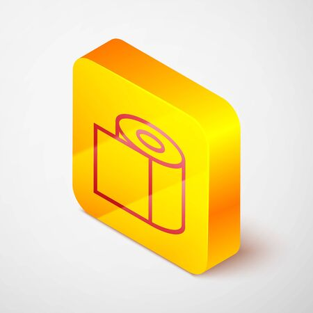 Isometric line Toilet paper roll icon isolated on grey background. Yellow square button. Vector Illustration.