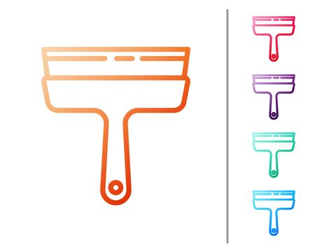 Red line Cleaning service with of rubber cleaner for windows icon isolated on white background. Squeegee, scraper, wiper. Set color icons. Vector Illustration.