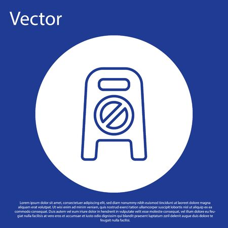 Blue line Wet floor and cleaning in progress icon isolated on blue background. Cleaning service concept. White circle button. Vector Illustration. Illusztráció