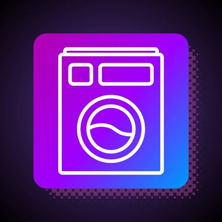 White line Washer icon isolated on black background. Washing machine icon. Clothes washer - laundry machine. Home appliance symbol. Square color button. Vector Illustration.