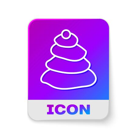 White line Stack hot stones icon isolated on white background. Spa salon accessory. Rectangle color button. Vector Illustration.