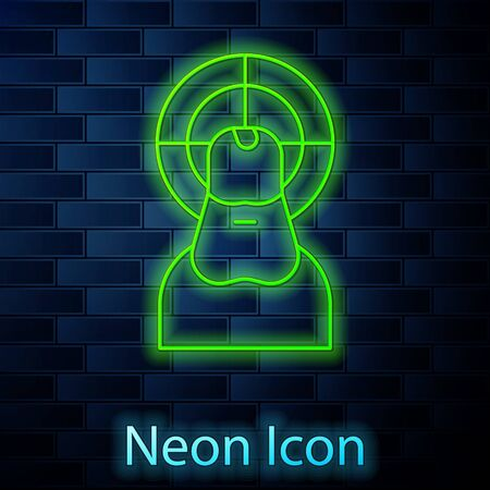 Glowing neon line Jesus Christ icon isolated on brick wall background. Vector Illustration.