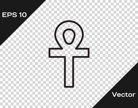 Black line Cross ankh icon isolated on transparent background. Vector Illustration.