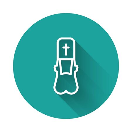 White line Priest icon isolated with long shadow. Green circle button. Vector Illustration