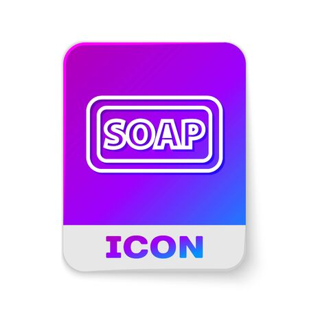 White line Bar of soap icon isolated on white background. Soap bar with bubbles. Rectangle color button. Vector Illustration.