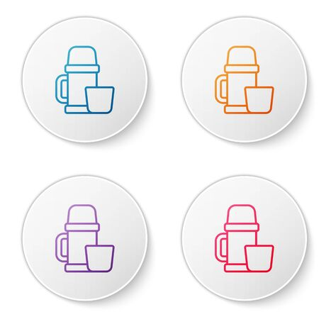 Color line Thermos container and cup icon isolated on white background. Thermo flask icon. Camping and hiking equipment. Set icons in circle buttons. Vector Illustration.