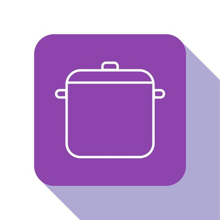 White line Cooking pot icon isolated on white background. Boil or stew food symbol. Purple square button. Vector Illustration. Иллюстрация