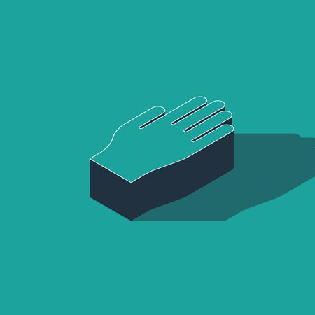 Isometric Medical rubber gloves icon isolated on green background. Protective rubber gloves. Vector Illustration.  イラスト・ベクター素材