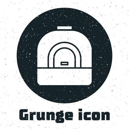 Grunge Oven icon isolated on white background. Stove gas oven sign. Monochrome vintage drawing. Vector Illustration.