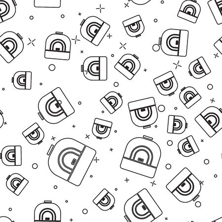 Black line Oven icon isolated seamless pattern on white background. Stove gas oven sign. Vector Illustration.