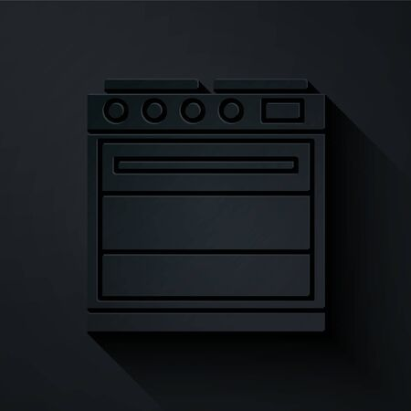 Paper cut Oven icon isolated on black background. Stove gas oven sign. Paper art style. Vector Illustration.