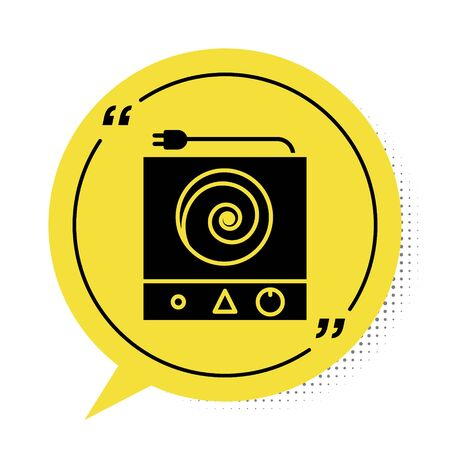 Black Electric stove icon isolated on white background. Cooktop sign. Hob with four circle burners. Yellow speech bubble symbol. Vector Illustration. Illusztráció