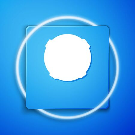 White Moon icon isolated on blue background. Blue square button. Vector Illustration