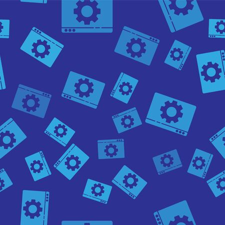 Blue Browser setting icon isolated seamless pattern on blue background. Adjusting, service, maintenance, repair, fixing. Vector Illustration