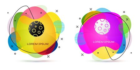 Color Moon icon isolated on white background. Abstract banner with liquid shapes. Vector Illustration