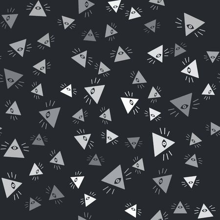 Grey Masons symbol All-seeing eye of God icon isolated seamless pattern on black background. The eye of Providence in the triangle. Vector Illustration