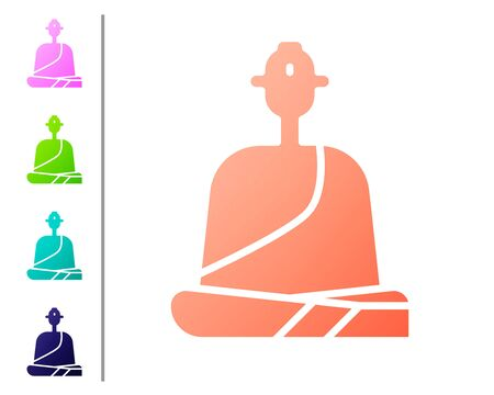 Coral Buddhist monk in robes sitting in meditation icon isolated on white background. Set color icons. Vector Illustration  イラスト・ベクター素材