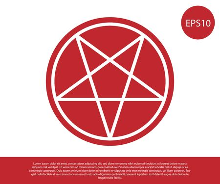 Red Pentagram in a circle icon isolated on white background. Magic occult star symbol. Vector Illustration.