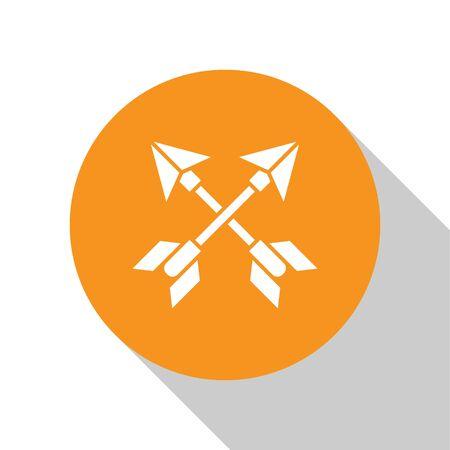 White Crossed arrows icon isolated on white background. Orange circle button. Vector Illustration Çizim