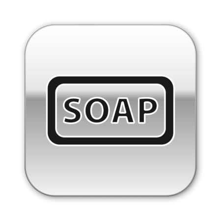 Black Bar of soap icon isolated on white background. Soap bar with bubbles. Silver square button. Vector Illustration.