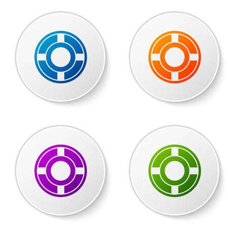 Color Ashtray icon isolated on white background. Set icons in circle buttons. Vector Illustration