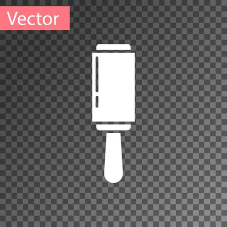 White Adhesive roller for cleaning clothes icon isolated on transparent background. Getting rid of debris, dust, hair, fluff, pet wool. Vector Illustration